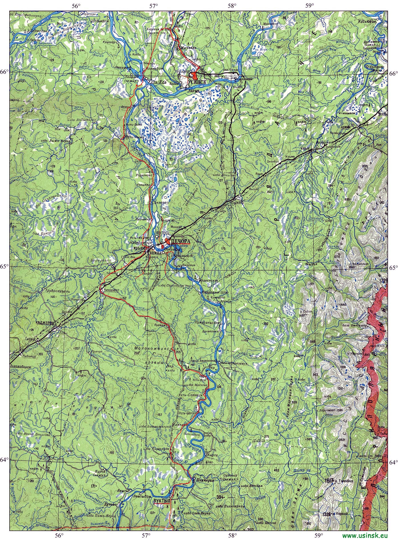 Карты города, района, Республики Коми. Дороги, зимники ...